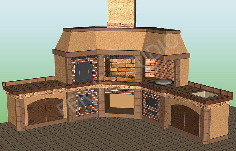Проект мангала-коптильни барбекю устройство кирпичных беседок с барбекю и